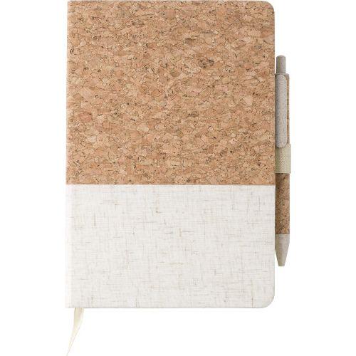 Cork and linen notebook andwheatstraw ballpen 9312