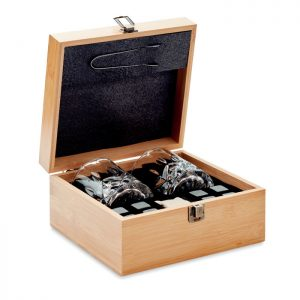 Whisky set in bamboo box INVERNESS MO9941-40