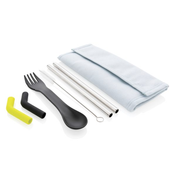 Tierra 2pcs straw and cutlery set in pouch P269.555