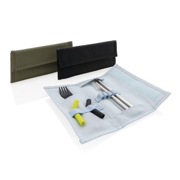 Tierra 2pcs straw and cutlery set in pouch P269.557