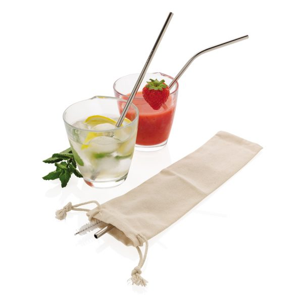 Reusable stainless steel 3 pcs straw set P269.572