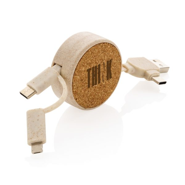 Cork and Wheat 6-in-1 retractable cable P302.369