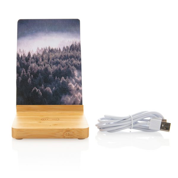 Bamboo 5W wireless charger with photo frame P308.139