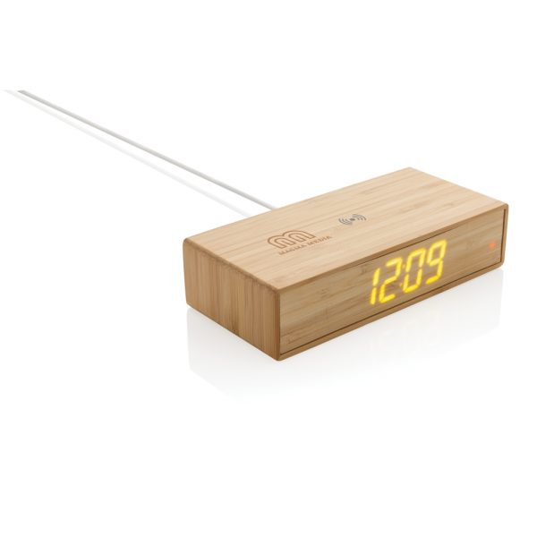 Bamboo alarm clock with 5W wireless charger P308.239