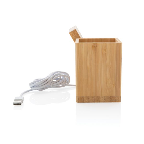 Calgary bamboo 5W wireless charger with pen holder P308.289