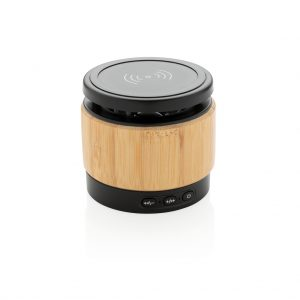 Bamboo wireless charger speaker P329.179