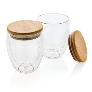 Double wall borosilicate glass with bamboo lid 250ml 2pc set P432.140
