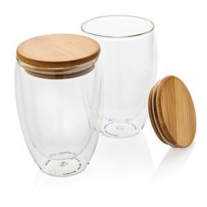 Double wall borosilicate glass with bamboo lid 350ml 2pc set P432.270