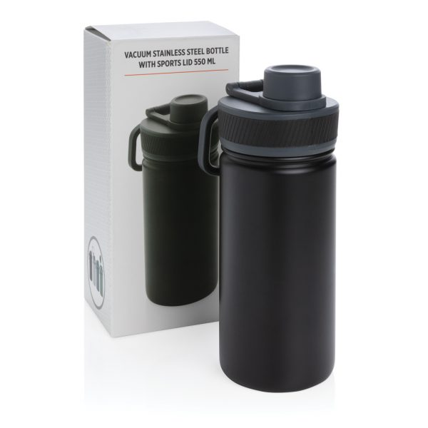 Vacuum stainless steel bottle with sports lid 550ml P436.191