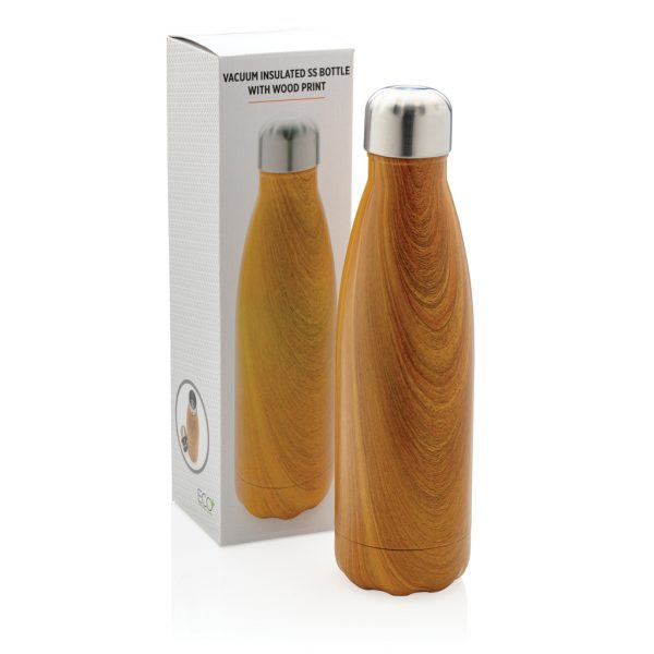 Vacuum insulated ss bottle with wood print P436.486