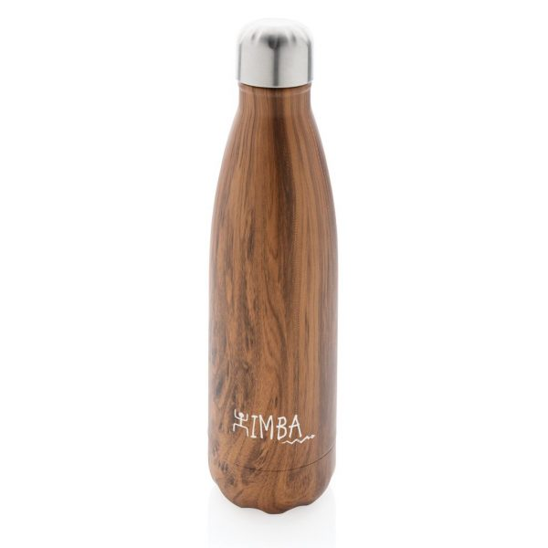 Vacuum insulated ss bottle with wood print P436.489