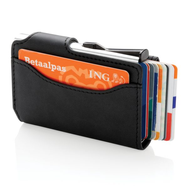Standard aluminium RFID cardholder with PU wallet P850.341