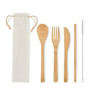 Bamboo cutlery with straw SETSTRAW MO6121-13