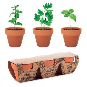 Terracotta 3 herb pot set FLOWERPOT MO6145-40