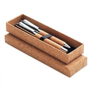Metal Ball pen set in cork box QUERCUS MO9678-40