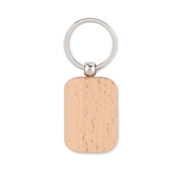 Rectangular wooden key ring POTY WOOD MO9774-40