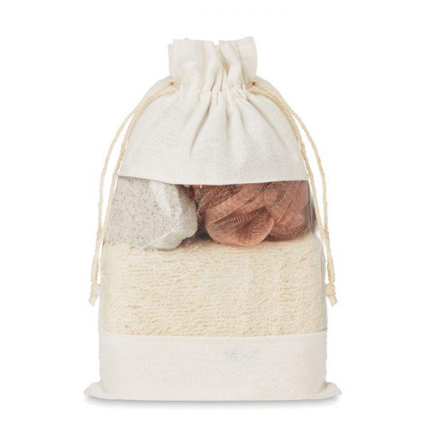 Bath set in cotton pouch CUIDA SET MO9872-13