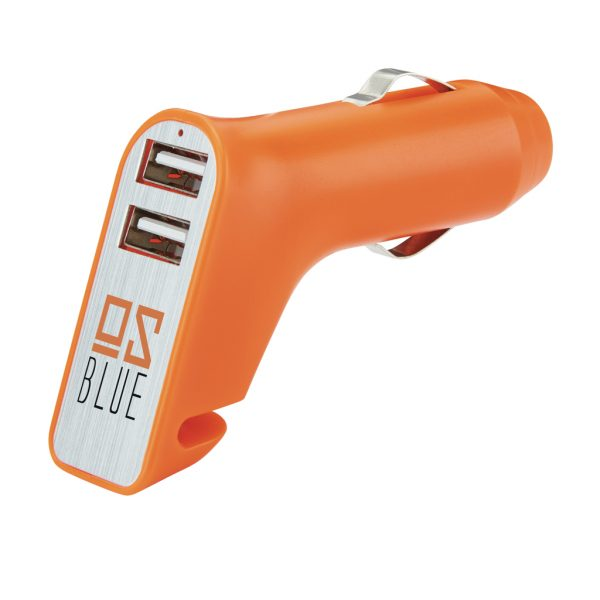 Dual port car charger with belt cutter and hammer P302.408